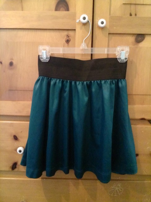 Forever 21 Satin Flowy Fall Summer Mini Skirt teal