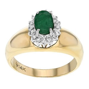 14k White Yellow Gold 0.60 Cttw Emerald 0.20 Cttw Diamonds Womens Ring