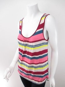 Deletta Anthropologie Red Striped Tie Back Top Pink, Red, White, Yellow, Blue