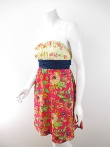 Maeve short dress Yellow, Red, Blue Anthropologie Red Floral Cotton Strapless Summer 0 on Tradesy