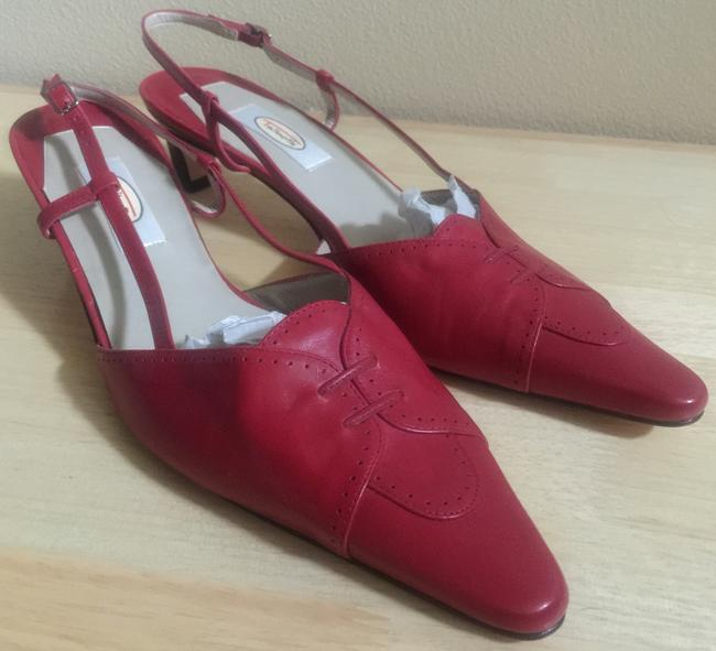Item - Red Leather Pointed-toe Slingback Sandals Size US 11 Regular (M, B)
