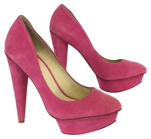 Elizabeth and James Mason Pink Suede Platform Pumps