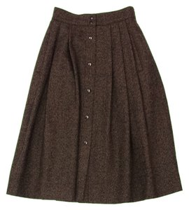 Guy Laroche Brown Wool Tweed Midi Skirt