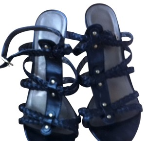 Tahari Gladiator Wedges Black Sandals