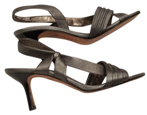 A. Marinelli Sandals 8 M Quality Leather Leather Sole Festive Prom Formal Heels Silver Gray Pumps