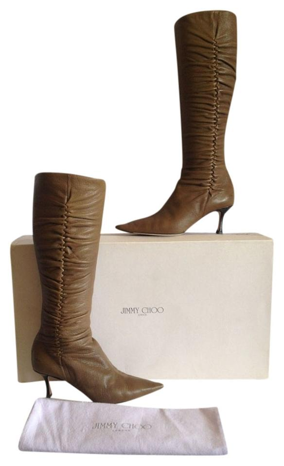 9cc1111fc41 Jimmy Choo Brown Knee High Kitten Heel Grained Leather Ruched Boots Booties.  Size  US 9 ...