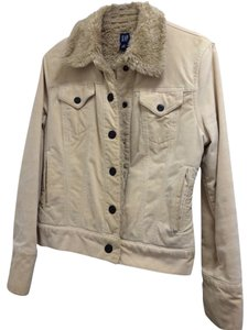 Gap Sherpa Khaki Winter Sherpa Cream Womens Jean Jacket