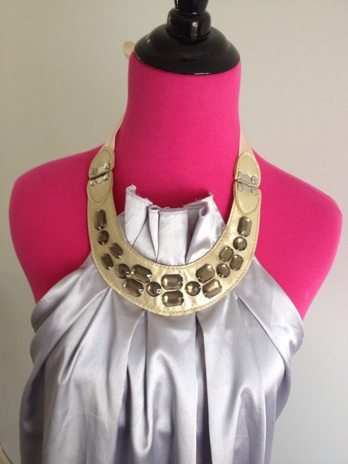 Other Unique Chic Halter Stones Faux Leather Mini Date Girls Weddings Party Sexy Girly Medium Tie Neck Gold Dress Image 1