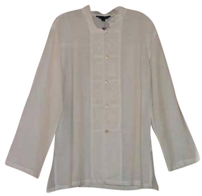 Item - White Drapey Meditation New Mop and Frog Closure Tunic Size OS (one size)