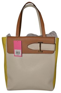 Isaac Mizrahi Chic Designer Multi-color Gold Feet Dust Tote in Tan