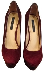 Rachel Zoe Burgundy With Crocodile Lea Print Pumps