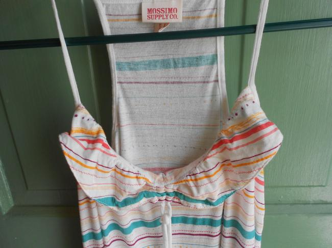 Mossimo Supply Co. Striped Stripe Casual Spaghetti Strap Ruffle Top White