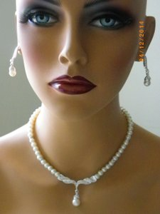 Other Earl Bridal Necklace And Earring Set Single Strand Pearl Necklace Round Ivory Pearl Necklace Bridesmaid Gift Wedding