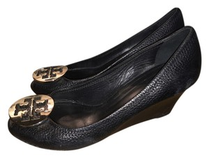 Tory Burch Silver Hardware Black Wedges