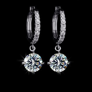 Loop With 8mm 2ct Round Swiss Cz Dangle Hoop Earrings