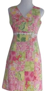 Tahiti Reef short dress Pink/Green Summer Shift Floral on Tradesy