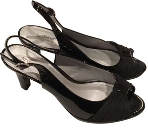 Liz Claiborne Black Patent Slingback Pump Open Toe Gross Grain Ribbon Pumps Heels 9 M Prom Formal