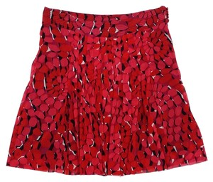 Vivienne Tam Red Black Print Pleated Pleated Skirt