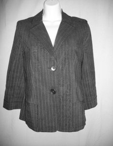 René Lezard Stripes Single Breasted 3/4 Sleeves Pin Stripes Black Jacket