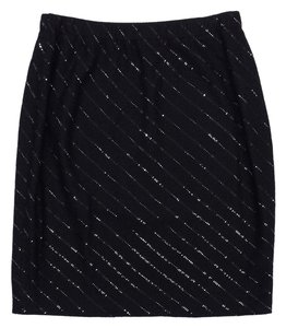 St. John Black Sequin Skirt