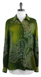 Escada Green Print Silk Shirt