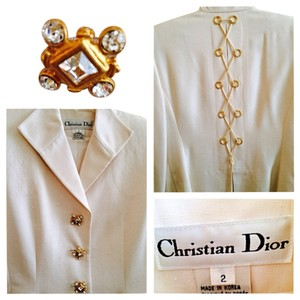Christian Dior Embellished Dior Silk Suit Crystal Buttons/Gold Back Lacing