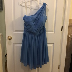 Bill Levkoff Cornflower Blue Chiffon Never Worn One Shoulder Feminine Bridesmaid/Mob Dress Size 14 (L)