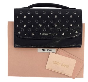 Miu Miu Black Patent Leather Studded Wallet