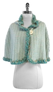 Missoni Cream Blue Wool Knit Cape