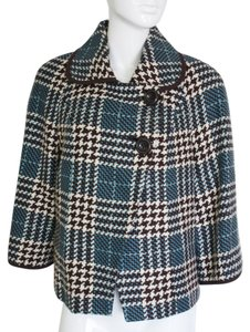 Jones New York Houndstooth Check Cape Cropped Vintage Green Cream Tartan Winter Trend Plaid Jacket