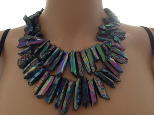 Iridescent natural stone necklace