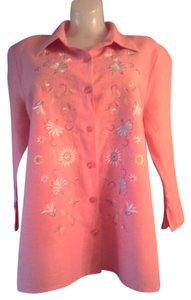 Christopher & Banks Embroidered Button Down Shirt Pink