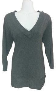 Style & Co & Charcoal V-neck Buckles 3/4 Sleeve Plus Size Plus-size 0x Sweater
