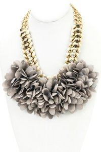 Gray Fabric Floral Bib Statement Necklace