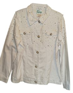 Quacker Factory White Womens Jean Jacket