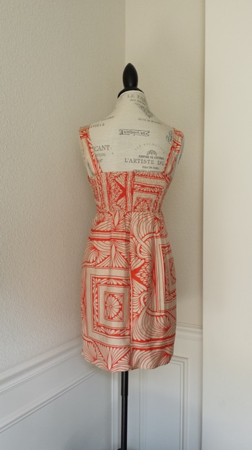 Anthropologie short dress Orange and Gold Silk on Tradesy
