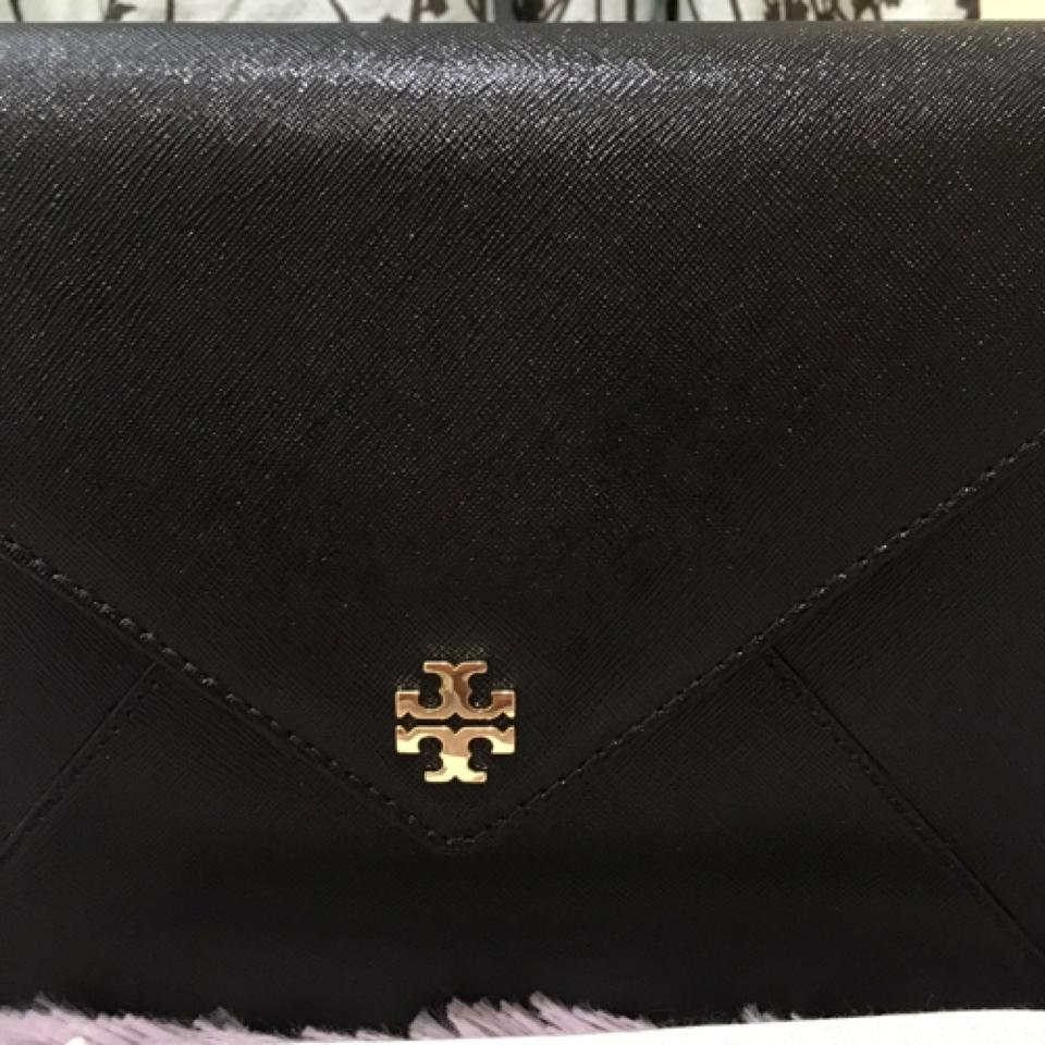 391ef80bb6f Tory Burch Robinson Kira Envelope Metallic Gold New Black Clutch - Tradesy