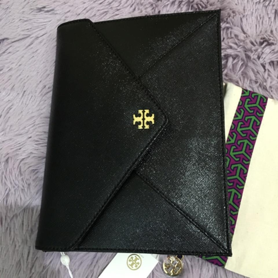 9d3a32a7033 Tory Burch Robinson Kira Envelope Metallic Gold New Black Clutch ...