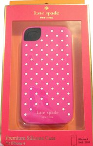 Kate Spade Kate Spade Pink withe Small White Polka Dots Silicone iPhone case cover 4/4S