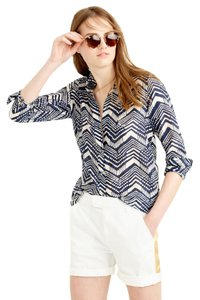J.Crew Button Down Shirt Blue Chevron