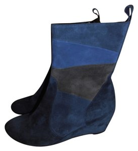 Bruno Magli Dajan Brown Leather Buckle Strap High navy Boots