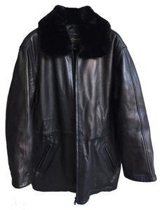 Marc New York Faux Fur Collar Leather Jacket