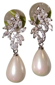 Bridal Faux Pearl Drop Cz White Gold Plated Earrings