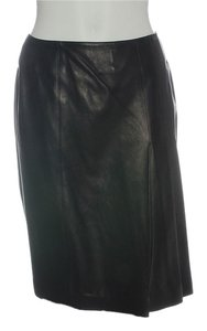 Chanel Leather Black Leather Ch.eh1219.12 Skirt