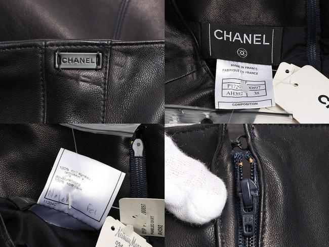 Chanel Leather Leather Ch.eh1219.12 Skirt Black Image 7