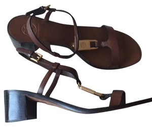 Tory Burch Padlock T Strap Leather Gold Brown Sandals
