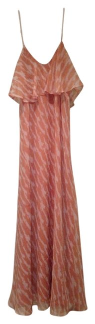 Item - Peach and Ivory XS White Bcbg Long Casual Maxi Dress Size 0 (XS)