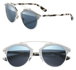 Dior So Real 48mm Leather-Trim Mirrored Sunglasses Pale Grey Havana/Blue Gradient