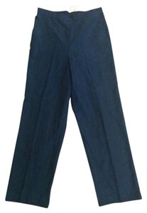 Alfred Dunner Elastic Waist Straight Pants Navy Blue
