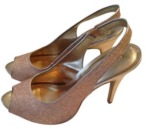 Kelly & Katie Glitter Peep Toe Heels Gold Pumps